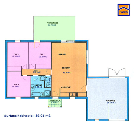 Plan Maison M Plainpied  Chambres Stunning Dcoration Plan Plain